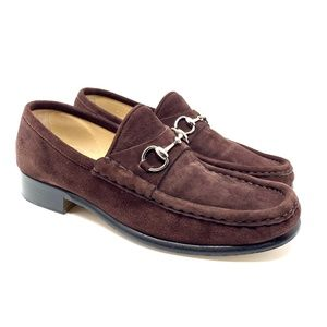 GUCCI Brown Suede Silver Bit Luxury Loafer